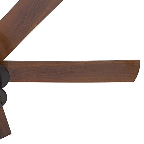 60 Casa Largo Modern Outdoor Ceiling Fan With Light LED Oil Brushed Bronze Dark Walnut Blades Frosted White Glass Damp Rated For Patio Porch Casa Vieja 0 2