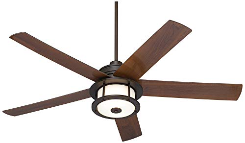 60 Casa Largo Modern Outdoor Ceiling Fan With Light LED Oil Brushed Bronze Dark Walnut Blades Frosted White Glass Damp Rated For Patio Porch Casa Vieja 0 3