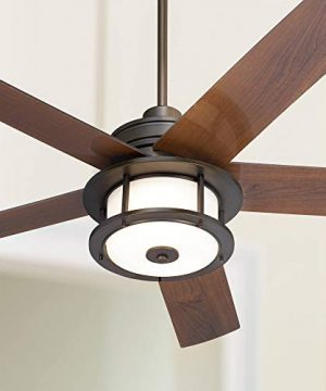 60 Casa Largo Modern Outdoor Ceiling Fan With Light LED Oil Brushed Bronze Dark Walnut Blades Frosted White Glass Damp Rated For Patio Porch Casa Vieja 0 300x360