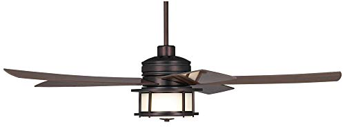 60 Casa Largo Modern Outdoor Ceiling Fan With Light LED Oil Brushed Bronze Dark Walnut Blades Frosted White Glass Damp Rated For Patio Porch Casa Vieja 0 4