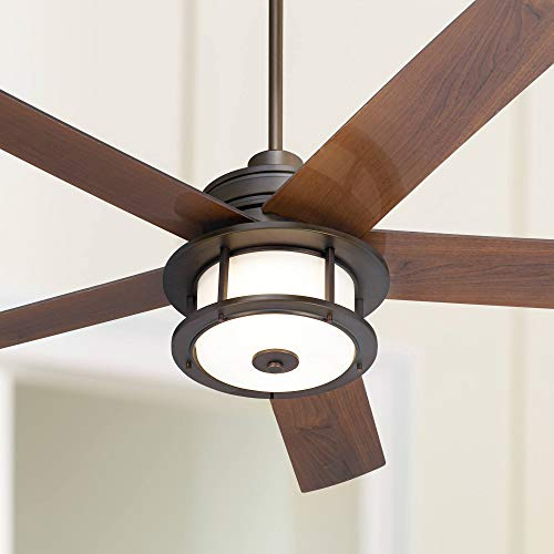 60 Casa Largo Modern Outdoor Ceiling Fan With Light LED Oil Brushed Bronze Dark Walnut Blades Frosted White Glass Damp Rated For Patio Porch Casa Vieja 0