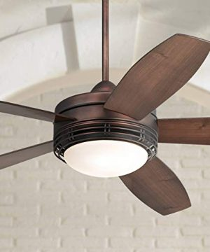 60 Casa Province Modern Rustic Outdoor Ceiling Fan With Light LED Remote Control Oil Brushed Bronze Reversible Dark Walnut Maple Blade Damp Rated For Patio Exterior House Porch Casa Vieja 0 300x360
