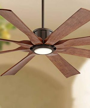 60 The Defender Modern Outdoor Ceiling Fan With Light LED Dimmable Remote Control Oil Rubbed Bronze Koa Blades Damp Rated For Patio Porch Possini Euro Design 0 300x360