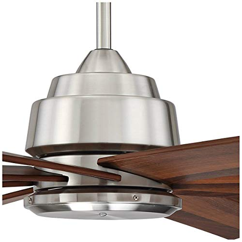 60 The Strand Modern Contemporary Large Ceiling Fan With Remote Brushed Nickel Silver Walnut Cherry Brown Blades For House Bedroom Living Room Home Kitchen Family Dining Office Casa Vieja 0 2