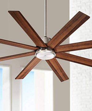 60 The Strand Modern Contemporary Large Ceiling Fan With Remote Brushed Nickel Silver Walnut Cherry Brown Blades For House Bedroom Living Room Home Kitchen Family Dining Office Casa Vieja 0 300x360