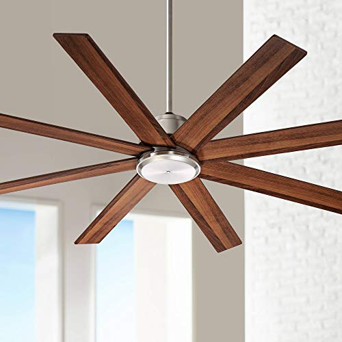 60 The Strand Modern Contemporary Large Ceiling Fan With Remote Brushed Nickel Silver Walnut Cherry Brown Blades For House Bedroom Living Room Home Kitchen Family Dining Office Casa Vieja 0