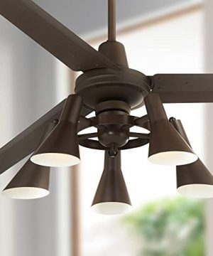 60 Turbina Industrial Retro 3 Blade Ceiling Fan With Light LED Dimmable Remote Oil Rubbed Bronze Adjustable Head For House Bedroom Living Room Home Kitchen Dining Office Casa Vieja 0 300x360
