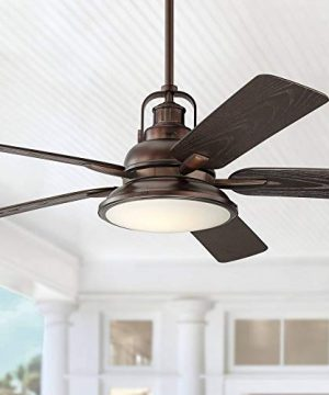 60 Wind And Sea Industrial Outdoor Ceiling Fan With Light LED Remote Control Dimmable Oil Brushed Bronze Brown Wet Rated For Patio Exterior House Porch Gazebo Garage Barn Casa Vieja 0 300x360