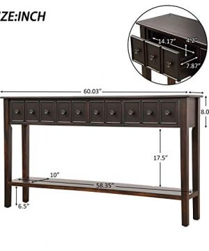 60 Inch Long Entryway Table With StorageJULYFOX Slim Hallway Table With Drawers And Shelf Solid Wood Rustic Narrow Sofa Console Table Heavy Duty For Living Room Office Bar Black 0 4 300x360