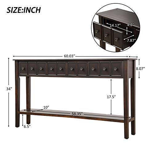 60 Inch Long Entryway Table With StorageJULYFOX Slim Hallway Table With Drawers And Shelf Solid Wood Rustic Narrow Sofa Console Table Heavy Duty For Living Room Office Bar Black 0 4