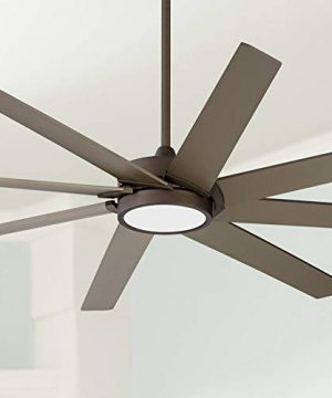 65 Destination Modern Contemporary Ceiling Fan With Light LED Remote Control Dimmable Oil Rubbed Bronze White Glass House Bedroom Living Room Home Kitchen Family Dining Office Possini Euro Design 0 300x360