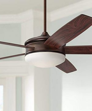 70 Coastline Modern Contemporary Large Ceiling Fan With Light LED Remote Control Dimmable Oil Brushed Bronze Brown Wood For House Bedroom Living Room Home Kitchen Dining Office Casa Vieja 0 300x360