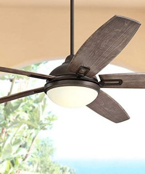 72 Casa Domain Modern Rustic Large Outdoor Ceiling Fan With Light LED Remote Control Bronze Frosted Opal Glass Wet Rated For Patio Exterior House Porch Gazebo Garage Barn Roof Casa Vieja 0 300x360