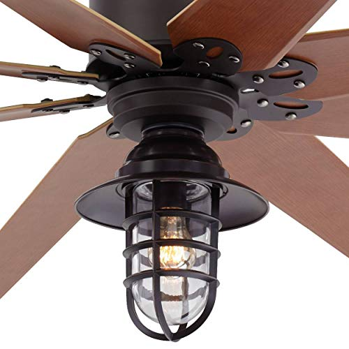 72 Predator Outdoor Ceiling Fan With Light LED Remote Control Dimmable English Bronze Cherry Blades Marlowe Metal Cage Damp Rated Patio Exterior House Porch Gazebo Garage Barn Casa Vieja 0 0