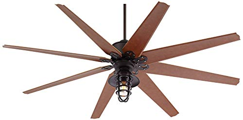 72 Predator Outdoor Ceiling Fan With Light LED Remote Control Dimmable English Bronze Cherry Blades Marlowe Metal Cage Damp Rated Patio Exterior House Porch Gazebo Garage Barn Casa Vieja 0 1