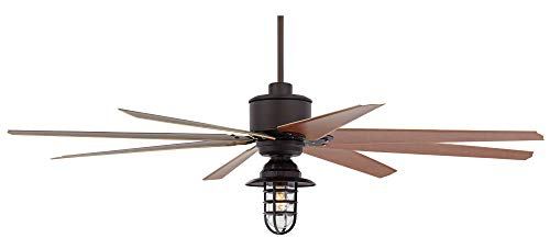 72 Predator Outdoor Ceiling Fan With Light LED Remote Control Dimmable English Bronze Cherry Blades Marlowe Metal Cage Damp Rated Patio Exterior House Porch Gazebo Garage Barn Casa Vieja 0 2
