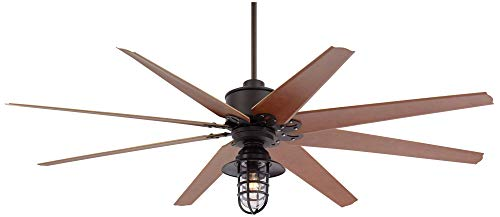 72 Predator Outdoor Ceiling Fan With Light LED Remote Control Dimmable English Bronze Cherry Blades Marlowe Metal Cage Damp Rated Patio Exterior House Porch Gazebo Garage Barn Casa Vieja 0
