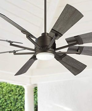 72 Windmill Industrial Rustic Outdoor Ceiling Fan With Light LED Dimmable Remote Control Imperial Bronze Gray Oak Blades Opal Glass Damp Rated Patio Exterior House Porch Gazebo Casa Vieja 0 300x360