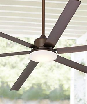 84 Casa Arcade Industrial Ceiling Fan With Light LED Dimmable Remote Control Oil Rubbed Bronze Damp Rated For Patio Porch Casa Vieja 0 300x360