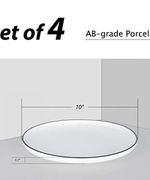 AQUIVER 10 Ceramic Dinner Plates Porcelain Classic White Lunch Plates With Black Edge Dining Party Restaurant Round Serving Dish For Steak Pizza Salad Pasta Pie Set Of 4 0 0 300x360