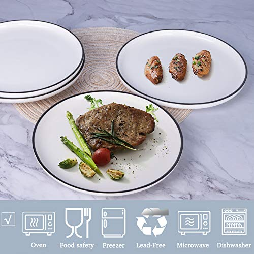 AQUIVER 10 Ceramic Dinner Plates Porcelain Classic White Lunch Plates With Black Edge Dining Party Restaurant Round Serving Dish For Steak Pizza Salad Pasta Pie Set Of 4 0 1