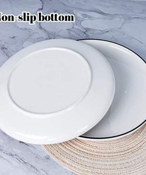 AQUIVER 10 Ceramic Dinner Plates Porcelain Classic White Lunch Plates With Black Edge Dining Party Restaurant Round Serving Dish For Steak Pizza Salad Pasta Pie Set Of 4 0 3 300x360