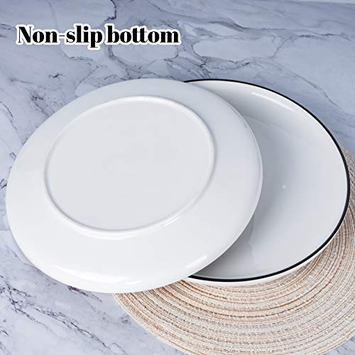 AQUIVER 10 Ceramic Dinner Plates Porcelain Classic White Lunch Plates With Black Edge Dining Party Restaurant Round Serving Dish For Steak Pizza Salad Pasta Pie Set Of 4 0 3