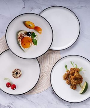 AQUIVER 10 Ceramic Dinner Plates Porcelain Classic White Lunch Plates With Black Edge Dining Party Restaurant Round Serving Dish For Steak Pizza Salad Pasta Pie Set Of 4 0 4 300x360