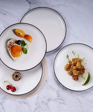 AQUIVER 10 Ceramic Dinner Plates Porcelain Classic White Lunch Plates With Black Edge Dining Party Restaurant Round Serving Dish For Steak Pizza Salad Pasta Pie Set Of 4 0 5 300x360
