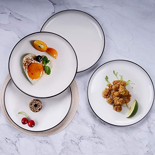 AQUIVER 10 Ceramic Dinner Plates Porcelain Classic White Lunch Plates With Black Edge Dining Party Restaurant Round Serving Dish For Steak Pizza Salad Pasta Pie Set Of 4 0 5