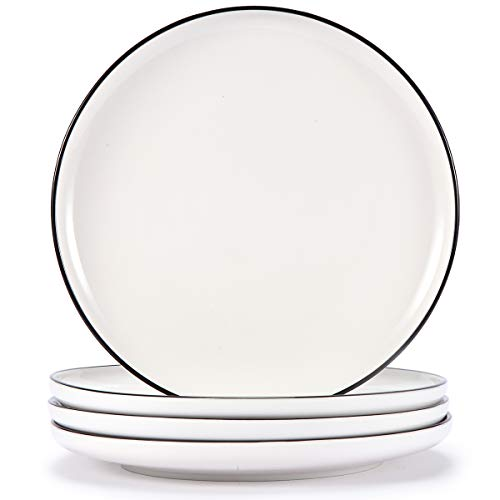 AQUIVER 10 Ceramic Dinner Plates Porcelain Classic White Lunch Plates With Black Edge Dining Party Restaurant Round Serving Dish For Steak Pizza Salad Pasta Pie Set Of 4 0