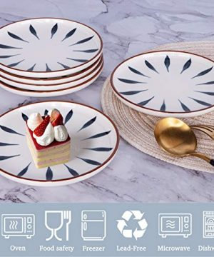 AQUIVER 6 Ceramic Dessert Plates Color Painted Porcelain Appetizer Plates Tea Party Small Serving Plates For Cake Pie Snacks Ice Cream Side Dish Waffles Set Of 6 Blue 0 1 300x360