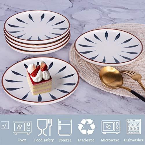 AQUIVER 6 Ceramic Dessert Plates Color Painted Porcelain Appetizer Plates Tea Party Small Serving Plates For Cake Pie Snacks Ice Cream Side Dish Waffles Set Of 6 Blue 0 1