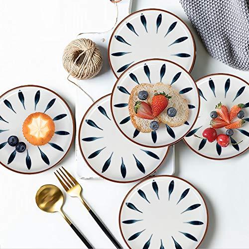 AQUIVER 6 Ceramic Dessert Plates Color Painted Porcelain Appetizer Plates Tea Party Small Serving Plates For Cake Pie Snacks Ice Cream Side Dish Waffles Set Of 6 Blue 0 4