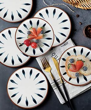 AQUIVER 6 Ceramic Dessert Plates Color Painted Porcelain Appetizer Plates Tea Party Small Serving Plates For Cake Pie Snacks Ice Cream Side Dish Waffles Set Of 6 Blue 0 5 300x360