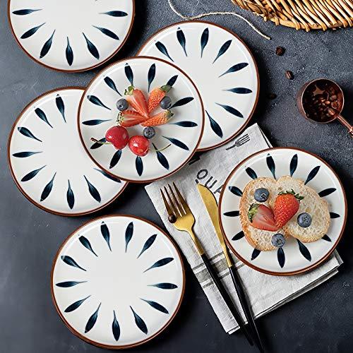 AQUIVER 6 Ceramic Dessert Plates Color Painted Porcelain Appetizer Plates Tea Party Small Serving Plates For Cake Pie Snacks Ice Cream Side Dish Waffles Set Of 6 Blue 0 5