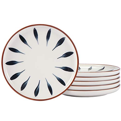 AQUIVER 6 Ceramic Dessert Plates Color Painted Porcelain Appetizer Plates Tea Party Small Serving Plates For Cake Pie Snacks Ice Cream Side Dish Waffles Set Of 6 Blue 0