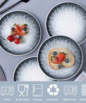 AQUIVER 6 Ceramic Dessert Plates Porcelain Water Wave Relief Texture Appetizer Plates Tea Party Small Serving Plates For Cake Pie Snacks Ice Cream Side Dish Waffles Set Of 6 Gray 0 1 300x360