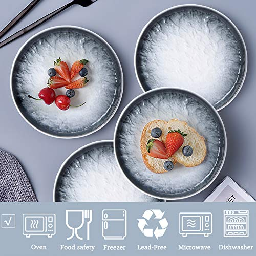AQUIVER 6 Ceramic Dessert Plates Porcelain Water Wave Relief Texture Appetizer Plates Tea Party Small Serving Plates For Cake Pie Snacks Ice Cream Side Dish Waffles Set Of 6 Gray 0 1
