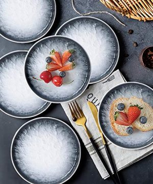 AQUIVER 6 Ceramic Dessert Plates Porcelain Water Wave Relief Texture Appetizer Plates Tea Party Small Serving Plates For Cake Pie Snacks Ice Cream Side Dish Waffles Set Of 6 Gray 0 3 300x360
