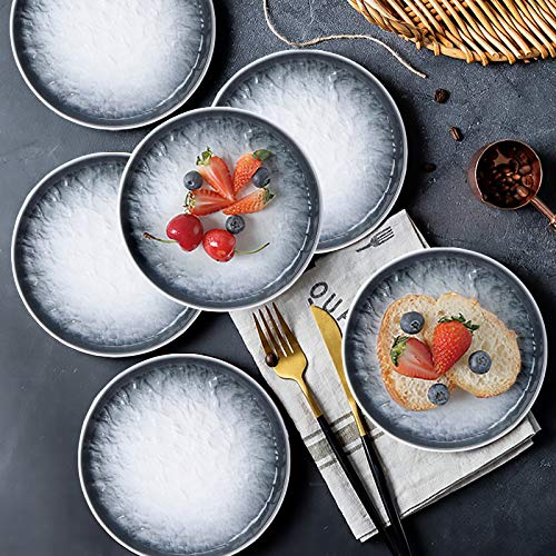AQUIVER 6 Ceramic Dessert Plates Porcelain Water Wave Relief Texture Appetizer Plates Tea Party Small Serving Plates For Cake Pie Snacks Ice Cream Side Dish Waffles Set Of 6 Gray 0 3