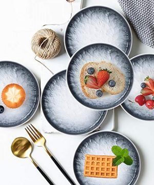 AQUIVER 6 Ceramic Dessert Plates Porcelain Water Wave Relief Texture Appetizer Plates Tea Party Small Serving Plates For Cake Pie Snacks Ice Cream Side Dish Waffles Set Of 6 Gray 0 4 300x360