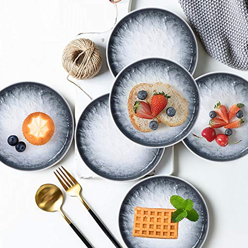 AQUIVER 6 Ceramic Dessert Plates Porcelain Water Wave Relief Texture Appetizer Plates Tea Party Small Serving Plates For Cake Pie Snacks Ice Cream Side Dish Waffles Set Of 6 Gray 0 4