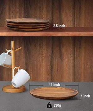 Acacia Wood Dinner Plates AIDEA 11Inch Round Wood Plates Set Of 4 Easy Cleaning Lightweight For Dishes Snack Dessert Unbreakable Classic Charger Plates Gift For Easter 0 4 300x360