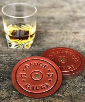 American Bench Craft Shotgun Shell Coasters Leather Coasters Set Of 4 Rustic Coasters Brown 0 0 300x360