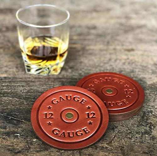 American Bench Craft Shotgun Shell Coasters Leather Coasters Set Of 4 Rustic Coasters Brown 0 0