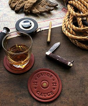 American Bench Craft Shotgun Shell Coasters Leather Coasters Set Of 4 Rustic Coasters Brown 0 1 300x360