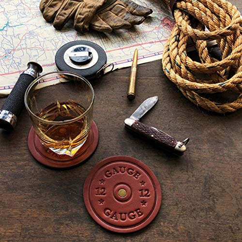 American Bench Craft Shotgun Shell Coasters Leather Coasters Set Of 4 Rustic Coasters Brown 0 1