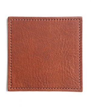 American Made Leather Coasters Premium Full Grain Leather Double Layered Square Rustic Brown Coaster Set 4x4 Handmade In The USA Set Of 4 0 0 300x360