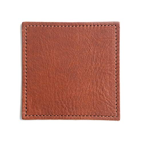 American Made Leather Coasters Premium Full Grain Leather Double Layered Square Rustic Brown Coaster Set 4x4 Handmade In The USA Set Of 4 0 0